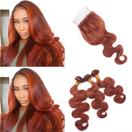 Wholesale Dark Red Hair Weave - 8A Body Wave Dark Auburn Lace Closure with Bundles Color #33 Copper Red Peruvian Human Hair Weaves with 4X4 Top Closure