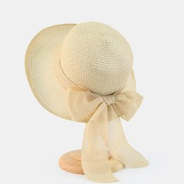 ee4a9649706 straw boater hats Promo Codes - 2018 Summer Women Boater Beach Hat Wide  Brim Female Casual