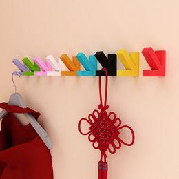 Wholesale Clothing Wall Hanger - Creative Hat Hooks Arrow Shape Wooden Coat Bag Hat Hanger Colorful Wall Mounted Pothook Fashion 3 98yj B