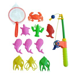Wholesale Net Rod - New Magnetic Fishing Toy Rod Model Net 10 Fish Kid Children Baby Bath Time Fun Game