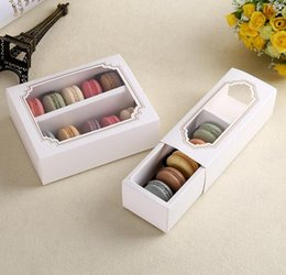 Wholesale Packaging Window Boxes - White Macaron box with transparent window dessert macarons pastry packaging boxes in 2 sizes