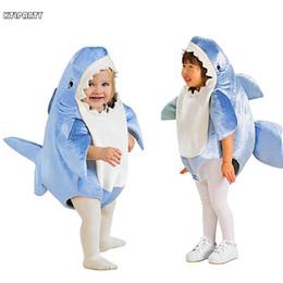 2019 vestito fantasia della tuta Bambini bambini Attack blu Shark Costume Party Mascotte animale Costume Tuta Halloween Fancy Dress Mascotte tuta ragazzo ragazza vestito fantasia della tuta economici