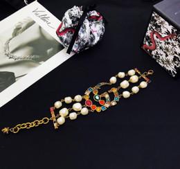 Bracelet de style ethnique en Ligne-1: 1 mode ethnique style créatif laiton diamant cristal perle en forme de lettre bracelet rétro britannique style ethnique braceletB87