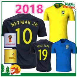 Wholesale Xl Tops - 2018 Brazil soccer jersey NEYMAR JR home away PELE OSCAR D.COSTA DAVID LUIZ top quality World Cup Brazil football soccer shirt national team