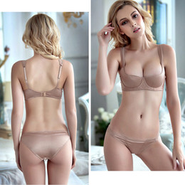 8dc24ef93db wholesale Half-Cup Bra Set Smooth Thin Cotton Women Sexy Bras and Panties  Set Plus Size ABCD Underwear Lingerie Ladies Brassiere