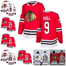 72d3d0eb3 Custom Chicago Blackhawks  9 Bobby Hull 27 Jeremy Roenick 35 Tony Esposito  21 Stan Mikita Retro Hockey Jerseys White Red discount tony esposito jersey