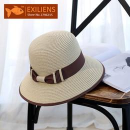 EXILIENS  2017 new lady moda verão marca das mulheres chapéus de sol  mulher cap beach top de palha de férias mix brim sombra protetor solar  menina desconto ... 3a012af9e3f