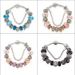 Wholesale Indian Women Bags - Dropshipping European Beads Charm Women Bracelets Fit Pandora Bracelets Bangles For Women Jewelry With Beautiful Gift Bag