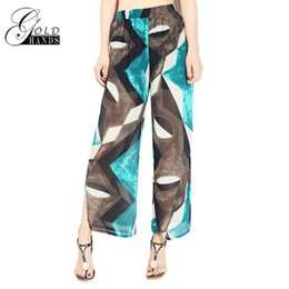 Wholesale Wide Fat Woman - New Summer loose XL fat in the high waist side slit chiffon printed wide leg pants women straight trousers thin section slit CN