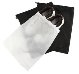 Wholesale Drawstring Bags For Shoes - 500pcs lot Black White Mesh Drawstring Bags For Shoes Clothes Storage Bag Zakka Organizer Travel Package Novelty household