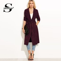 21c2d9e0ee4f Sheinside Autumn Coats Women Burgundy Suede Self Tie Duster Trench Coat  2018 Clothes Wrap Outerwear With Belt Workwear Long Coat