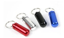 keyrings boxing Australia - 2000pcs lot Fast shipping Colorful Mini Aluminum Waterproof micro Box Case Bottle Holder Container Keychain Keyring bottles