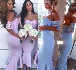2019 robes élégantes en dentelle Dubaï élégante sirène demoiselle d'honneur robes hors épaule dentelle manches courtes longueur cheville robes de cocktail robe de soirée de mariage HY4073 robes élégantes en dentelle pas cher