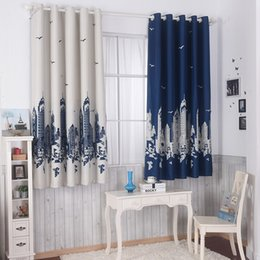 tab windows 2018 - Cotton spandex printing customized short curtain 2 colors optional curtains for bedroom windows cartoon Castle boys and girls