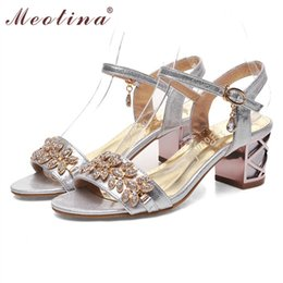 Wholesale Open Red Bridal Shoes - Wholesale-Meotina Shoes Women Sandals Luxury Bridal Shoes Summer Open Toe Party Chunky Heels Rhinestone Sandals Gold Big Size 9 10 98606