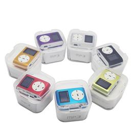 tarjetas de regalo de música Rebajas Colorido Mini Clip Reproductor de MP3 con pantalla LCD de 1,2 pulgadas Reproductor de música Soporte para tarjeta Micro SD Ranura TF con caja de regalo