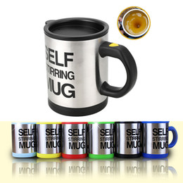 Wholesale Self Mug - 14oz Automatic Electric Self Stirring Coffee Mugs 6 Colors Tumblers Stainless Steel Drinking Cups With Lids