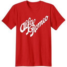 Alfa Romeo Script en ROUGE classique T-shirts T-shirt Alfa Romeo Italie italien Camiseta T-shirt Décontracté Vêtements de ville Hommes Tops ? partir de fabricateur