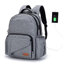 2020 bolsitas para mamás Mamá bolsa de maternidad bolsa de pañales de múltiples funciones mochila con interfaz USB pañal bolsas de bebé con correas de cochecito para el cuidado del bebé bolsitas para mamás baratos