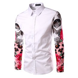 Wholesale bird shirt mens - T-bird Men Shirt Long Sleeve 2017 Brand Men Shirts Casual Male Slim Fit Printing Stitching Cuffs Chemise Mens Dress Shirts XKSJX
