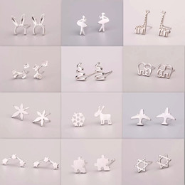 small stud design Promo Codes - New S925 Silver Earrings Small Anti Allergy Pure Silver Stud 40 Different Models Lovely Small Earrings For Women Unisex Design
