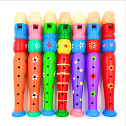 Wholesale Flute Holes - Wooden Flute Clarinet Cartoon Creative Children 6 Hole Small Piccolo Playing Instruments Infant Musical Toys For Early Education 4 99ty Z