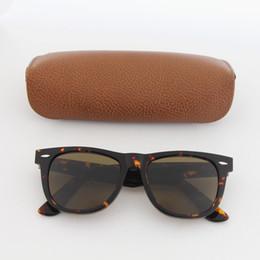Caja de tortuga online-Diseñador de la marca de calidad superior Hombres Mujeres cuadrado Tortuga Marco Marrón 54 mm Gafas de sol Vintage Moda Gafas de sol uv400 lente de vidrio con caja de Brown
