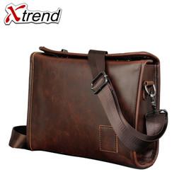 Xtrend Famous Brand Crazy Horse Cuoio di nuovo disegno uomini valigetta  Valigetta Borse da uomo Business Fashion Messenger Bag e895ca412b3