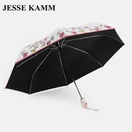 Wholesale Foldable Umbrellas - JESSE KAMM ANTI-UV Foldable Sun Compact Women Female Ladies Lady Strong Windproof Rain Fashion Fully Auto Open Close Umbrellas