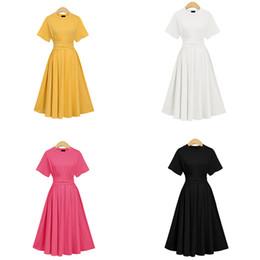 2019 vestidos amarillos sólidos Retro Mujeres Pajaritas Camisas Vestido Sólido color amarillo Vestido Largo Maxi Verano Vestidos Delgados 2018 Túnica Longue Femme Plus Tamaño 5xl vestidos amarillos sólidos baratos