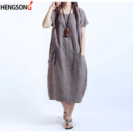 Wholesale Woman Dress Chinese Style - 6XL Chinese Style Women's Dress Female Ladies Oversize Dress Plus Size Women O-Neck Loose Linen With Pockets AY906635