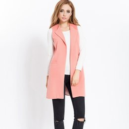 Deutschland Woolen Blend Frauen Sleeveless Weste Lange Solide Schwarz Rosa Lady Office Frau Jacke Mantel 2018 Herbst Weibliche Westen supplier ladies pink sleeveless jacket Versorgung