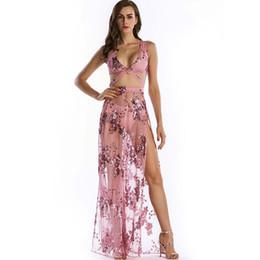 5ebe779abb Sexy Dropship Clubwear vestidos transparentes lentejuelas vestido brillante  noche Club Split vestido