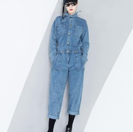 Wholesale Denim Long Sleeve Jumpsuit - 2018 Spring Women Lace Up Tunic Denim Jumpsuits High Waist Long Sleeve Pocket Ankle Length Trouser L255