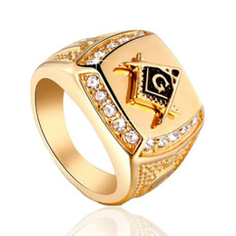 Wholesale Hip Hop Style Jewelry - Hip Hop Jewelry 24k Gold Plated Classic Men's Punk Style Masonic Ring Hip Hop Iced Out Bling Rings Mens Rings Fashion Jewelry