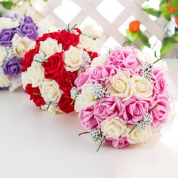 bayas de rosas Rebajas Flor de espuma Artificial nupcial Ramos 3 colores dama de honor nupcial Ramos de boda rojo púrpura flores para la decoración de la boda