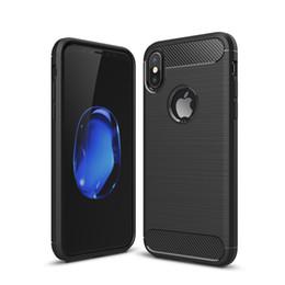Canada Fiber De Carbone Cas Pour iPhone X 6 S 7 8 Plus 5 S De Luxe Texture Brossé Silicone Souple En Caoutchouc Couverture Arrière Mince Armure Peau Rugueuse Offre