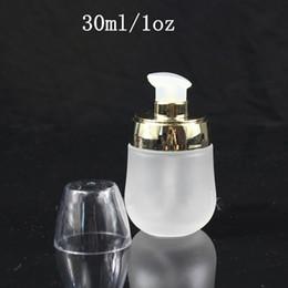 botella cuentagotas bomba Rebajas 30 ml 1 oz Mini frosted glass jar pot maquillaje recargable crema crema bomba botella botella de perfume cosmética vacía con cuentagotas