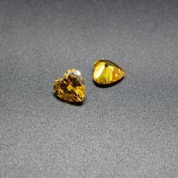 joyas en forma de corazón de piedras Rebajas Forma de corazón de Oro Amarillo CZ 3-8mm Circonita Cúbica Máquina de Corte de Piedras Sueltas Sintéticas Para Ajuste de Joyería 500 unids / lote Envío gratis
