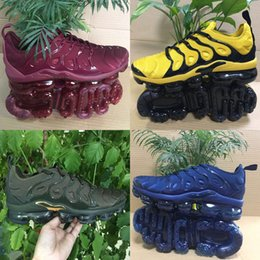 Wholesale Metallic Packing - 2018 New Vapormax TN Plus VM Olive In Metallic White Silver Colorways Shoes For Running Male Shoe Pack Triple Black Men Shoes