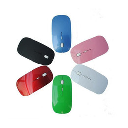Wholesale ultra slim wireless mouse - Ultra Thin USB Optical Wireless Mouse 2.4G Receiver Super Slim Mouse For Computer PC Laptop Desktop 6 Candy color