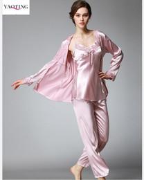 Elegant Women s Robe Pants Sets Silk like pajamas Sleep comfortable Anti  real silk Lace inlay Night Shirt Elegant 3 pieces Pajamas Sets 2a1602531