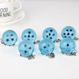 Bolas de resina de cristal online-3.4cm Dragon Ball 7 Estrellas Crystal Balls resina azul Figuras juguetes llavero colgante 1 2 3 4 5 6 7 estrellas juguete C4128