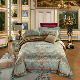 Wholesale Bedspread White Jacquard - Luxury jacquard cotton stain Bedding Set 4 6Pieces King Queen Size bedroom Duvet Quilt Cover Set Bedspread Pillowcases