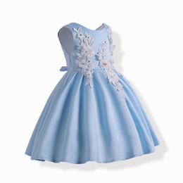 Wholesale Solid Light Blue Ball Gown - Retail 2018 Summer New Girl Princess Dress Embroidered Flower Light Blue Sleeveless Evening Dress Children Clothing 3-10Y 1782
