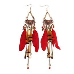 Wholesale Fish Number - Fashion Multicolor Long Chain Fringe Charm Earrings Vintage Long Feather Earrings Bohemian Punk Ethnic Wome Wholesale Fish Hook Chain Tassel