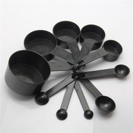 Wholesale Black Tea For Sale - 10pcs Set Black Plastic Measuring Cups 10pcs lot Measuring Spoon Kitchen Tools Measuring Set Tools For Baking Coffee Tea Hot sales