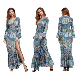 Wholesale Fish Discount - 2018 New Popular Style Printing Long-sleeved Long-sleeved Fish Tail Skirt Wholesale and Retail Discount Shop