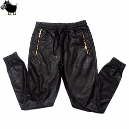 Wholesale Full Si - Man Si Tun New Kanye west Hip Hop big and tall Fashion zippers jogers Pant Joggers dance urban Clothing Mens faux leather Pants