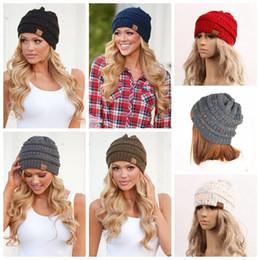Wholesale Women Crochet Beanie - Women Winter CC Ponytail Knitted Hat Crochet Hat Ski Beanie Skull Slouchy Hat Autumn Beanies Caps 9 Colors OOA3836